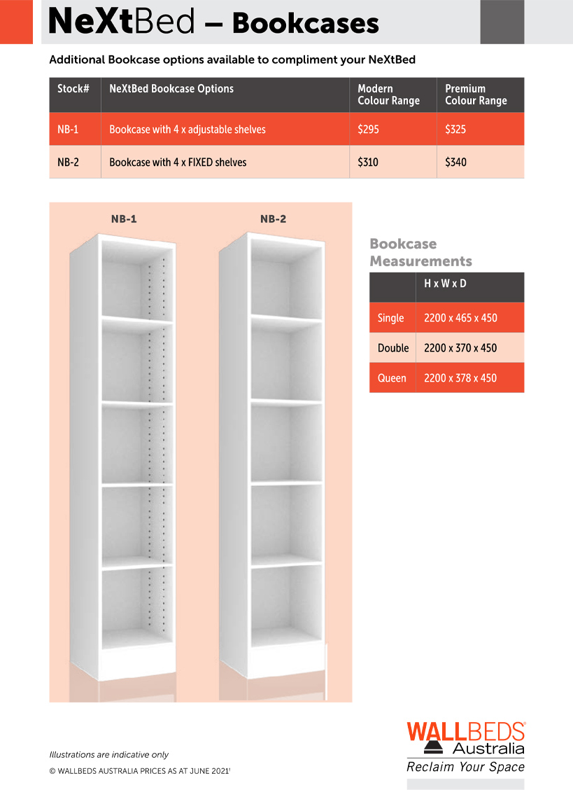 NeXtBed Bookcase Options